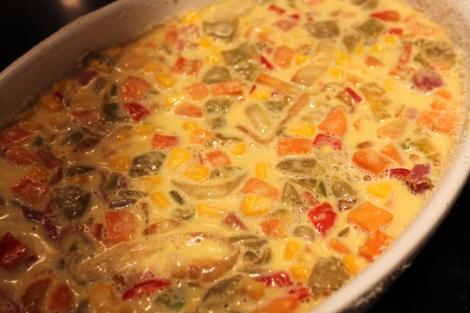 Cocinando pastel de verduras